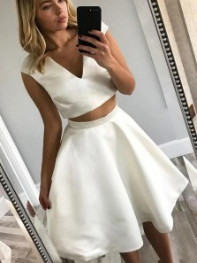 Classy A-Line Two Piece V Neck White Satin Short Homecoming Dresses