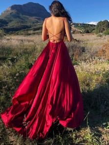 Simple A-Line Scoop Neck Cross Back Red Satin Long Prom Evening Dresses with Side Slit Under 100