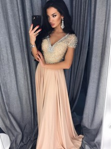 New arrival A-Line V Neck Cap Sleeve Champagne Satin Beading Long Prom Dresses,Evening Party Dresses 2020