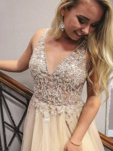 Charming A-Line V Neck Open Back Light Champagne Tulle Long Prom Dresses with Beading Slit,Formal Party Dresses