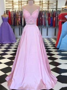 Unique Two Piece V Neck Spaghetti Straps Open Back Pink Satin Long Prom Dresses with Appliques,Formal Party Dresses