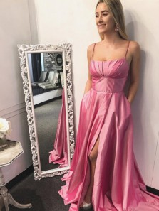 Gorgeous A-Line Square Neck Spaghetti Straps Open Back Pink Satin High Slit Long Prom Dresses with Pockets,Formal Evening Party Dresses