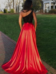 Chic Two Piece One Shoulder Red Satin Long Prom Dresses with Black Lace Top,Evening Party Dresses with Slit