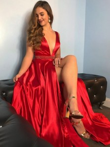 Charming A-Line Deep V Neck Open Back Red Satin Long Prom Dresses with High Slit Beading,Evening Party Dresses