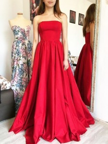 Simple A-Line Strapless Open Back Red Satin Long Prom Dresses with Pockets,Formal Evening Party Dresses