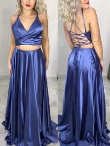 Stunning A-Line Two Piece V Neck Cross Back Satin Long Prom Evening Dresses Under 100