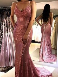 Sparkly Mermaid V Neck Cross Back Pink Sequin Long Prom Dresses,Formal Evening Party Dresses