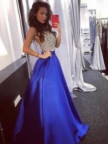 Gorgeous A-Line Halter Open Back Royal Blue Satin Long Prom Dresses with Beading,Evening Party Dresses with Pockets