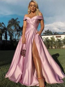 A-Line Off the Shoulder Open Back Pink Satin Long Prom Dresses with High Split,Formal Party Gown
