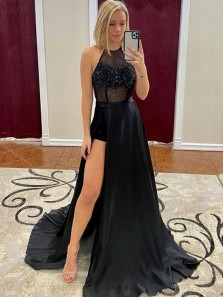 Elegant A-Line Halter Open Back Black Satin Long Prom Dresses with Beading Slit,Evening Party Dresses with Train