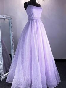 Lovely A-Line Scoop Neck Cross Back Lavender Sparkly Lace Prom Dresses,2020 Graduation Dresses