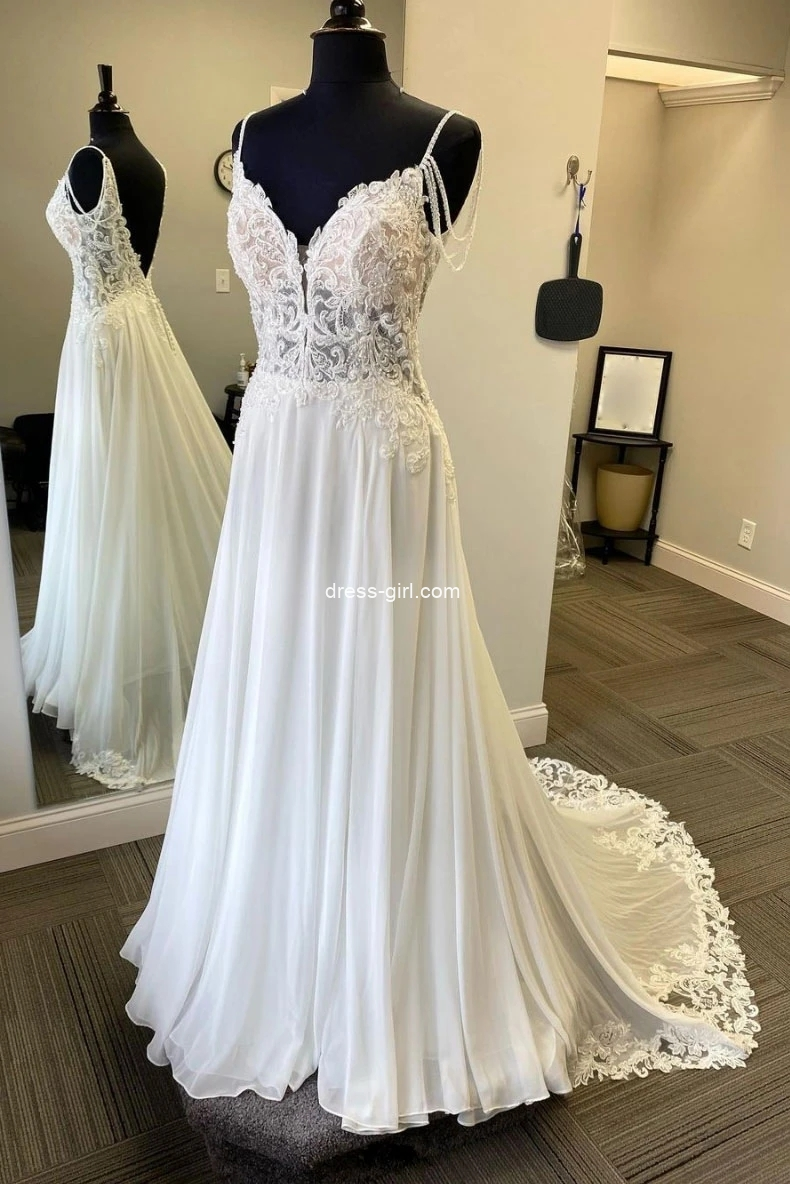 Gorgeous A-Line V Neck Backless White Chiffon Beach Wedding Dresses with Appliques