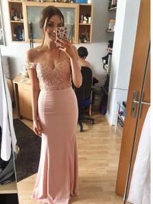 Elegant Mermaid Off the Shoulder Blush Elastic Satin Long Bridesmaid Dresses with Lace DG0917004