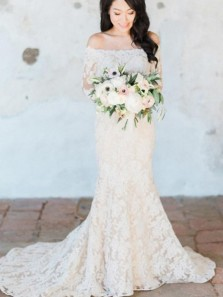 Charming Mermaid Off the Shoulder Long Sleeve White Lace Wedding Dresses