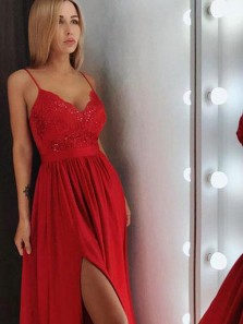 Charming A-Line V Neck Open Back Red Chiffon Long Prom Dresses with Appliques,Evening Party Dresses