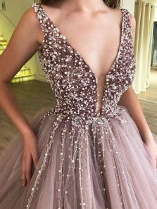 Luxurious V Neck Open Back Purple Tulle Long Prom Dresses with Beading,Charming Quinceanera Dresses DG1107004