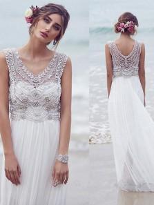 Modest A-Line V Neck Open Back White Chiffon Wedding Dresses with Beading,2019 Beach Wedding Dresses