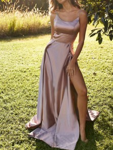 Simple A-Line Scoop Neck Cross Back Brown Satin Long Prom Dresses with Side Split,Evening Party Dresses