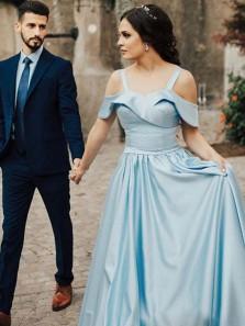 Elegant A-Line Off the Shoulder Open Back Blue Satin Long Prom Dresses with Pockets,Evening Party Dresses