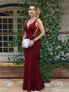 Stylish Mermaid V Neck Backless Burgundy Satin Long Prom Dresses with Ruffles,Evening Party Dresses