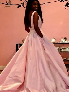 Gorgeous A-Line V Neck Open Back Pink Satin Long Prom Dresses with Beading,Evening Party Dresses