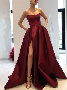 Classy A-Line Strapless Open Back Blush Satin Long Prom Dresses with Split Pockets,Formal Prom Gown