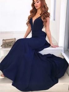 Charming Mermaid V Neck Backless Navy Blue Satin Long Prom Dresses,Formal Prom Dresses