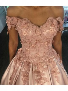 Charming Ball Gown Off the Shoulder Blush Satin Long Prom Dresses with Appliques,Quinceanera Dresses