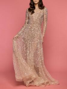 Elegant A-Line Boat Neck Open Back Long Sleeve Champagne Sequins Beaded Long Prom Dresses,Formal Evening Party Dresses