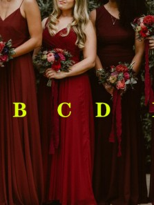 Elegant Burgundy Chiffon 6 Styles Long Boho Bridesmaid Dresses Under 100