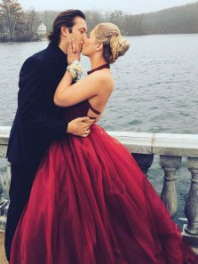 Elegant A-Line Halter Backless Burgundy Tulle Long Prom Dresses with Beading,Charming Formal Party Dresses