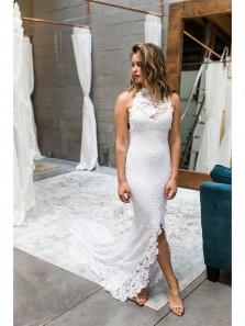 Gorgeous Halter White Lace Mermaid Long Wedding Dress with Slit