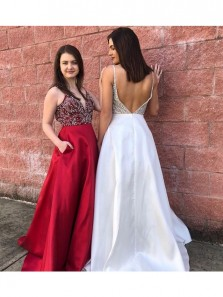 Gorgeous Long Prom Dress,Beads Red Prom Dress, White Long Prom Dress