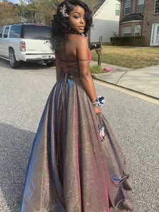 Sparkly A-Line Strapless Cross Back Chocolate Sequins Satin Long Prom Dresses with Split,Evening Party Dresses