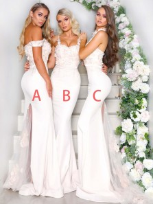 Charming Mermaid 3 Styles White Lace Satin Bridesmaid Dresses,2020 New Wedding Party Dresses,Long Prom Dresses
