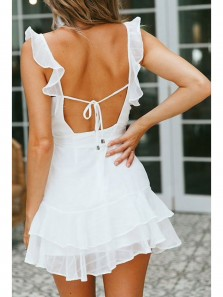 Fairy A-Line V Neck Open Back White Chiffon Short Homecoming Dresses Summer Short Dresses Under 100