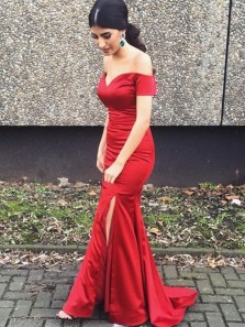 Simple Mermaid Off the Shoulder Red Satin Long Prom Dresses with Side Split,Evening Party Dresses DG8034