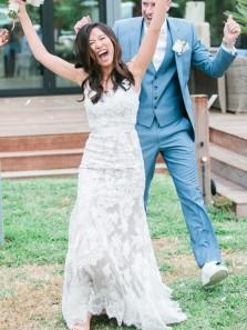 Elegant Sheath V Neck Backless White Lace Wedding Dresses with Train