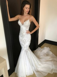 Gorgeous Straps Sweetheart Mermaid Long White Lace Wedding Dress with Court Train