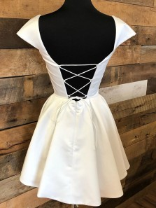 Vinatge A-Line Square Neck White Satin Homecoming Dress with Beaded Pockets Under 100