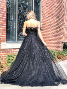 Sparkly A-Line Strapless Black Sequins Long Prom Evening Dresses with Feather