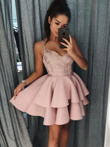 A-Line Spaghetti Straps Tiered Pink Satin Homecoming Dress with Sequins