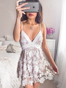 Cute Short Lilac Satin White Lace Homecoming/Party Dress
