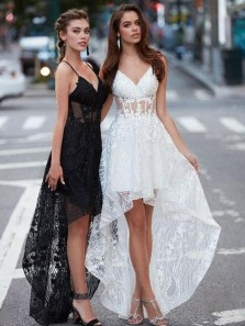Cute A-Line V Neck Open Back Black White Lace High Low Prom Dresses,Formal Evening Party Dresses