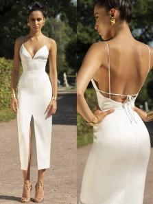 Charming Sheath V Neck Spaghetti Straps Backless White Satin Slit Prom Dresses,Evening Party Dresses