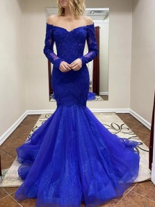 Elegant Mermaid Off the Shoulder Long Sleeves Royal Blue Lace Prom Dresses,Glitter Evening Party Dresses