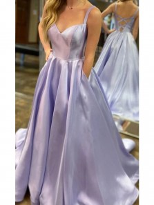 Simple A-Line Sweetheart Cross Back Lavender Satin Long Prom Dresses with Pockets,Evening Party Dresses