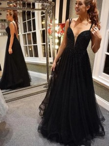 Gorgeous A-Line Sweetheart Backless Black Tulle Long Prom Dresses with Sequins,Formal Evening Party Dresses