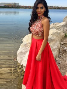 Unqiue A-Line Two Piece Halter Open Back Red Satin Long Prom dresses with Beading,Evening Party Dresses