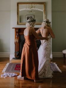 Stylish A-Line V Neck Spaghetti Straps Maple Leaf Color Beach Fall Bridesmaid Dresses with Split